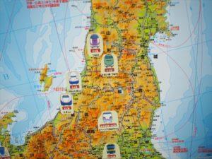 【日本地図】新幹線・電車のシールを貼った